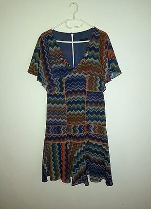 Roman Renkli Elbise