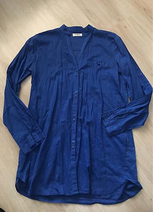 Pull and Bear Mavi tunik gömlek