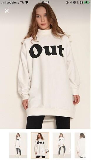 Beyaz uzun sweatshirt tunik