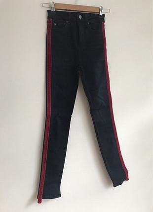 Kadife Detaylı Kot Pantolon