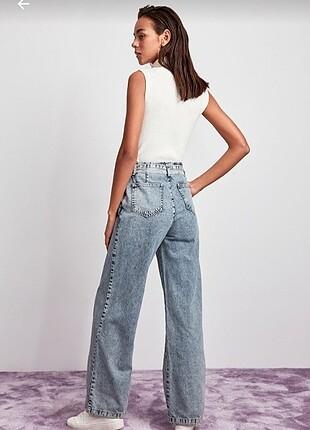 Kemerli süper yüksek bel wide leg jeans
