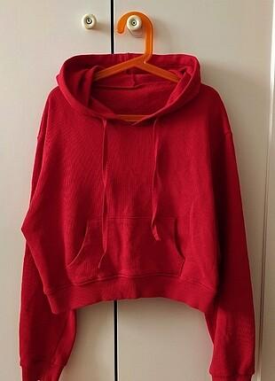 Kırmızı crop sweatshirt