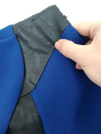 36 Beden mavi Renk twist deri detayli elbise