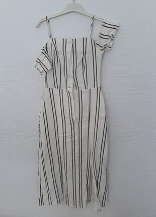 Mudo çizgili omuz detaylı keten elbise