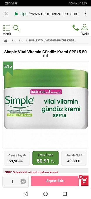 SİMPLE gündüz kremi 50ML