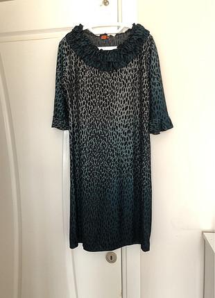 Bayan yeşil leopar elbise