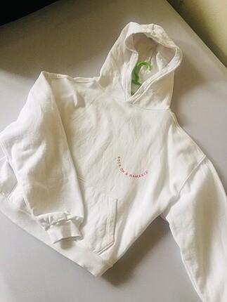 Arkası ve önü baskılı crop sweatshirt