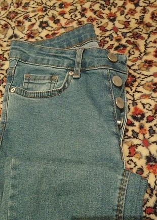 düğmeli yüksek Bel sknny jeans