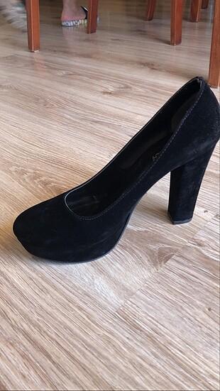 38 Beden Platform topuklu siyah ayakkabı