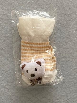 Ayıcık figürlü bebek çorabı
