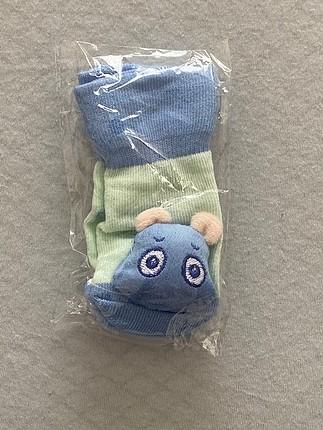 Hipopotam figürlü çıngıraklı bebek çorabı