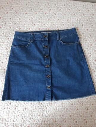 Mavi jean mini etek