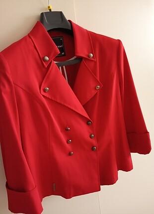 Kırmızı renk hoş ilkbahar sonbahar yazlık şık ceket