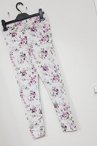 uzun keten çiçekli dar pantolon