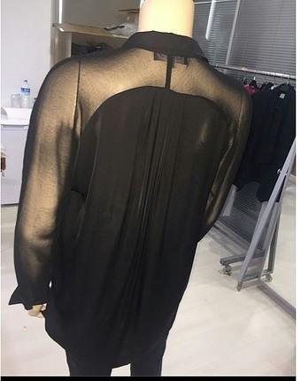 Marks & Spencer Siyah kolları şifon gömlek