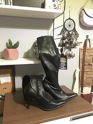 uzun burun siyah vintage çizme