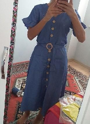 s Beden mavi elbisee