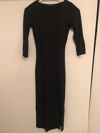 Bershka düz siyah uzun elbise