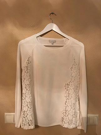 Twist dantelli beyaz bluz