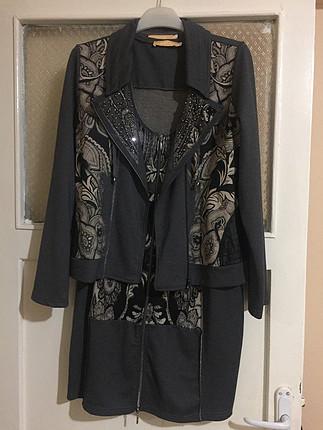 Kısa elbise ceket takım