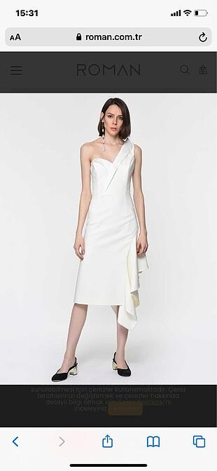 Tek omuz beyaz elbise