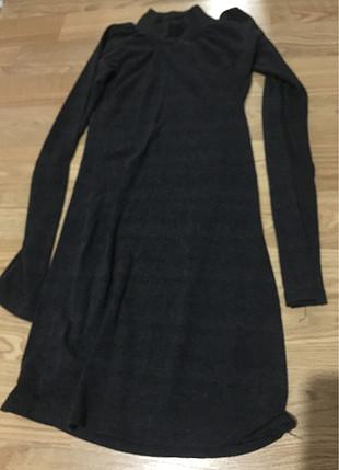 Triko boğazlı boğaz detaylı kazak tarzı olmayan elbise tam yapış