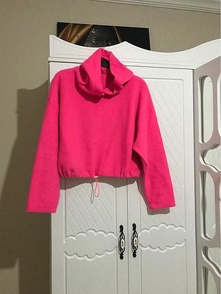 Pembe Kapşonlu bluz
