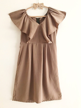 Bej saten krep elbise