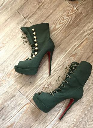 Koyu yeşil platform ayakkabı