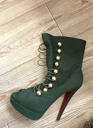 Christian Louboutin Koyu yeşil platform ayakkabı