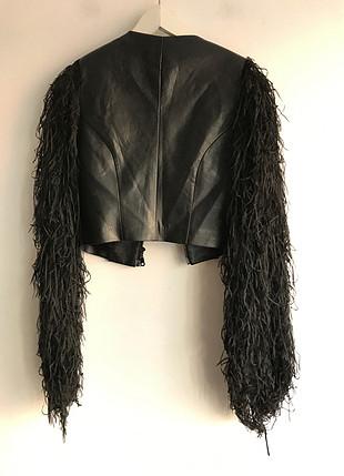 Designer Püskül detaylı deri ceket