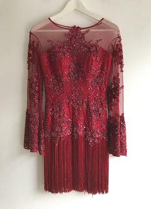 Püskül detaylı elbise