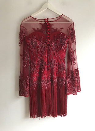 36 Beden Püskül detaylı elbise