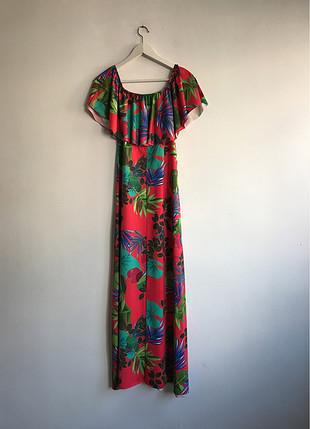 Desenli günlük uzun elbise