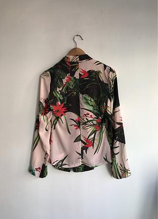 Tropik desenli ince ceket