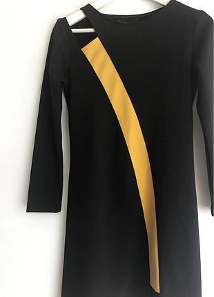 Sarı tek şeritli elbise