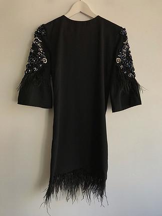 Taş ve tüy detaylı elbise