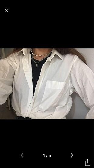 Beyaz vintage gömlek ince şeritli