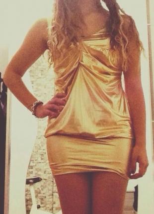 Parlak Sarı Gece Elbisesi