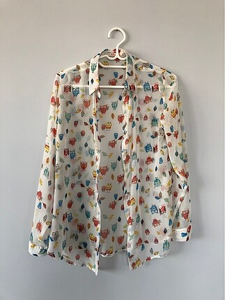 İnce Baykuş Desenli Gömlek