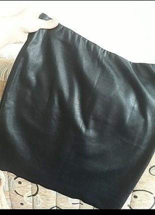 m Beden siyah Renk koton deri etek