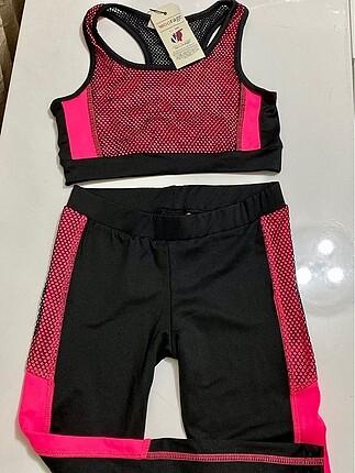 Pembe fileli sporcu jimnastik kıyafeti 11-12 yaş