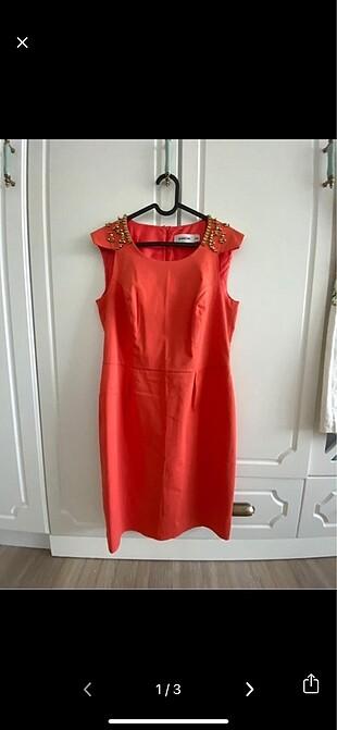 Random turuncu şık elbise