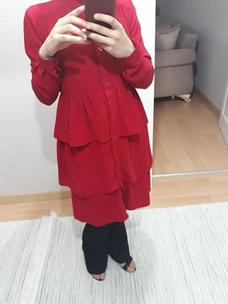 kırmızı kat kat tunik