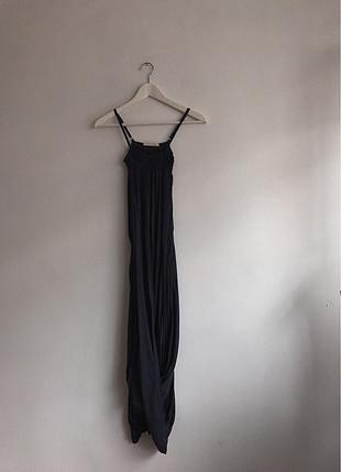 Lacivert elbise uzun