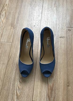Platform lacivert topuklu ayakkabı