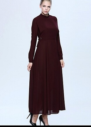 Seçil bordo uzun elbise