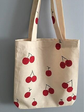 Kiraz desenli bez çanta
