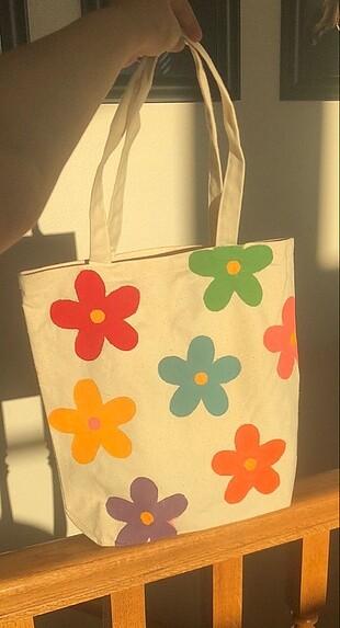 Çiçek desenli Bez çanta