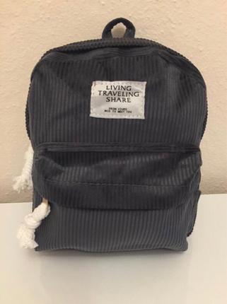 Kadife sırt çantası gri